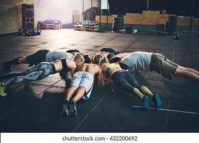 Fit young people focused on planking together in a circle in a gym