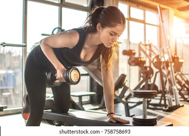 Fit young woman lifting weight in gym. Morning exercise in fitness center.