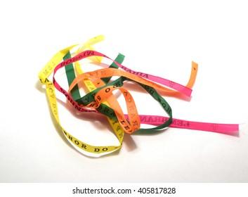 Fita do Senhor do Bonfim ribbons from, Salviador, Bahia, Brazil, isolated