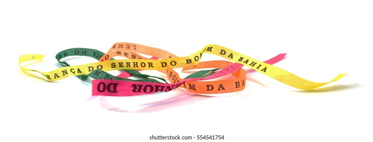 Fita do Senhor do Bonfim ribbons from, Salviador, Bahia, Brazil, isolated