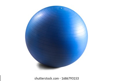 Fitball in blue colour on clean background. Isolated.