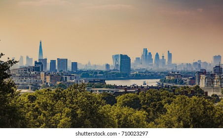 Fitered photo of London skyline viewed from Greenwich Observatory
