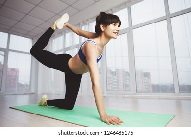 Fitness, active lifestyle, perfect shape, flexibility, yoga, pilates. woman work out performing static stretching exercise