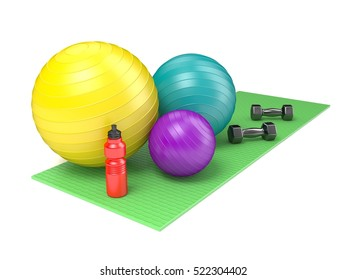 Fitness ball, dumbbells and plastic water bottle on green yoga mat. Side view. 3D render illustration isolated on white background