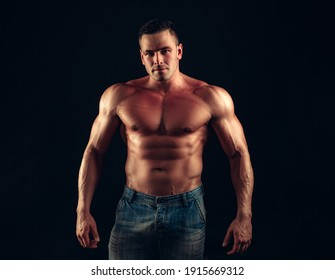 Fitness bare torso. Naked male body. Nude guy. Sexy muscular man. Topless fitnes model. Nude abs