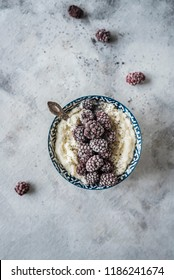 Fitness Blue Smoothie Bowl  with Frozen Blackberries