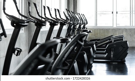Fitness center and modern machines for exercise in gym room. Elliptical cross trainer in a row. Concept of office, working place and stadium.