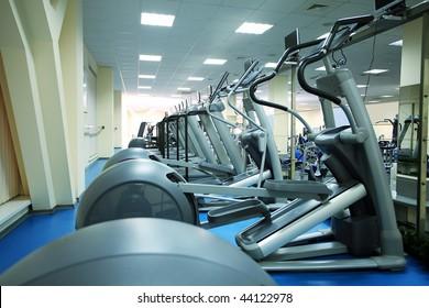 Fitness centre. Equipment, gym apparatus.