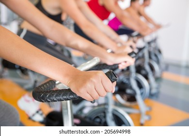 Fitness class working out in a row at the gym