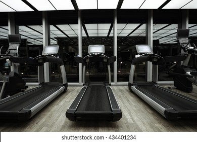 Fitness club in luxury hotel interior.