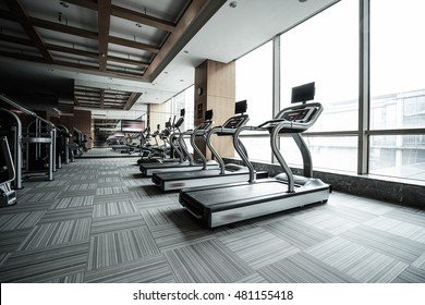 Fitness club in luxury hotel interior