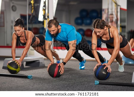 Fitness Coach Girls Doing Crossfit Workout Stock Photo Edit Now