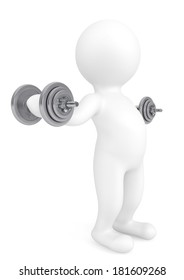 Fitness concept. 3d person with dumbbells on a white background