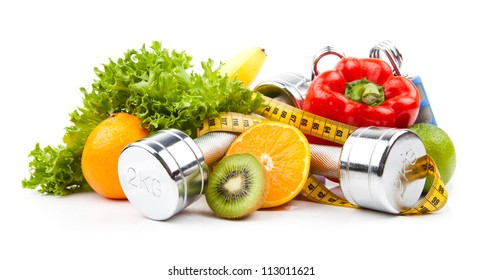 Fitnessgeräte und gesunde Lebensmittel