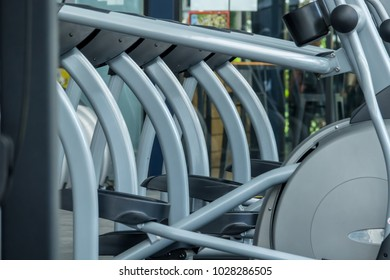 Fitness equipment in sport gym club. Close-up shot.
