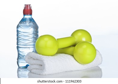 Fitness equipment towel, water, dumbbell