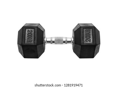 Fitness exercise equipment dumbbell weights isolated on white background, included clipping path