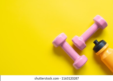 Fitness, Exercise, Working out healthy lifestyle background concept. Flat lay Top view with copy space.