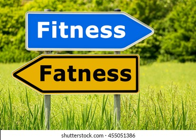 Fitness - Fatness lifestyle change concept. Abstract yellow and blue road arrow highway directions signs on green field background