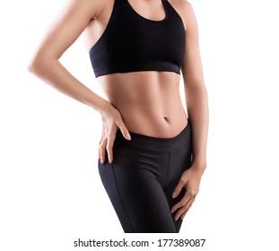 Fitness female bodybuilder isolated on white background