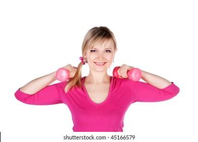 fitness girl in action over white