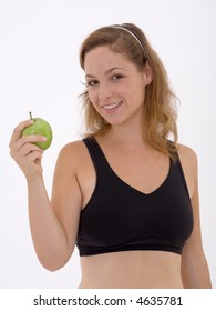 fitness girl with apple
