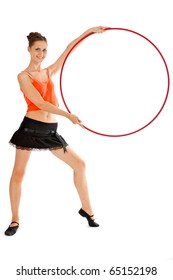Fitness girl sits with hula hoop