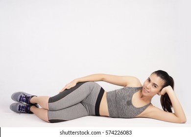 Fitness Girl with Stretching exercise, Workout Concept