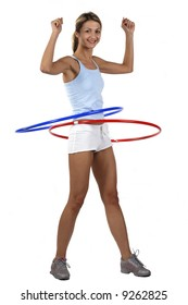 Fitness girl with two hoop