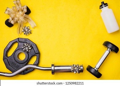 Fitness Gym background with equipment ribbon new year concept festive