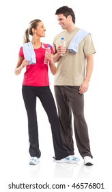 Fitness and gym. Smiling young  strong man and woman. Isolated over white background