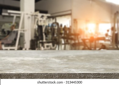 fitness gym and wooden desk space