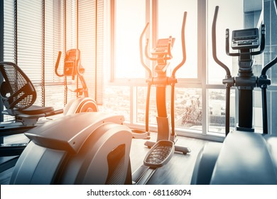 Fitness hall with the sport bikes in it health concept