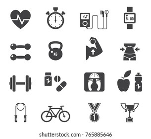 Fitness and Health icons with White Background.