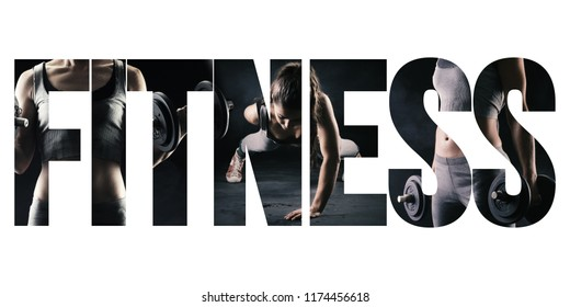 Fitness, healthy lifestyle and sport concept: woman working out at the gym and cut out text