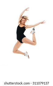 Fitness healthy women exercise in studio jumping on white background