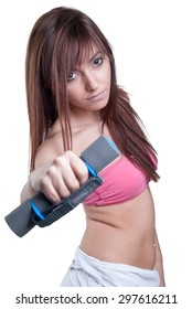 Fitness, home and diet concept - girl exercising with heavy dumbbells at home. White isolated