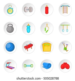 Fitness icons set. Cartoon illustration of 16 16 fitness  icons for web