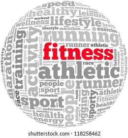 Fitness info-text graphics and arrangement concept on white background (word cloud)