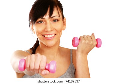 fitness instructor with dumbbells , isolated on white background