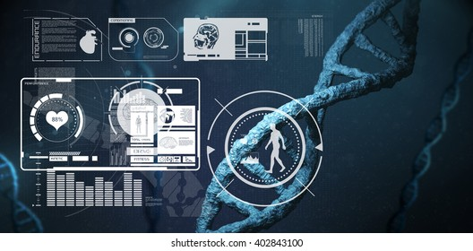 Fitness interface against image of a dna