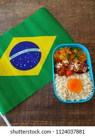 Fitness kettle with healthy food and Brazilian flag