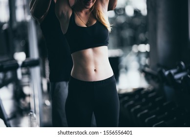 Fitness lifestyle concept, Sexy women exercising in the sport gym