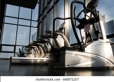 Fitness machines in fitness room at the morning