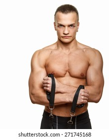 Fitness man doing exercises with expander. Isolated on white background