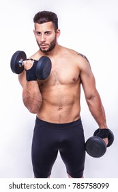 fitness man with sports dumbbells