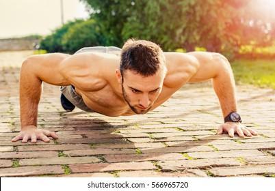 fitness man training push up