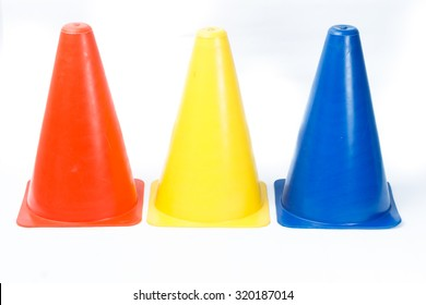 Fitness marker cones isolated on white background