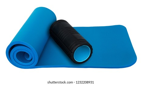 Fitness  mat and black roll