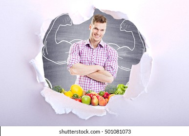 Fitness Model with Fruits and Vegetables - Healthy food concept with torn ripped paper